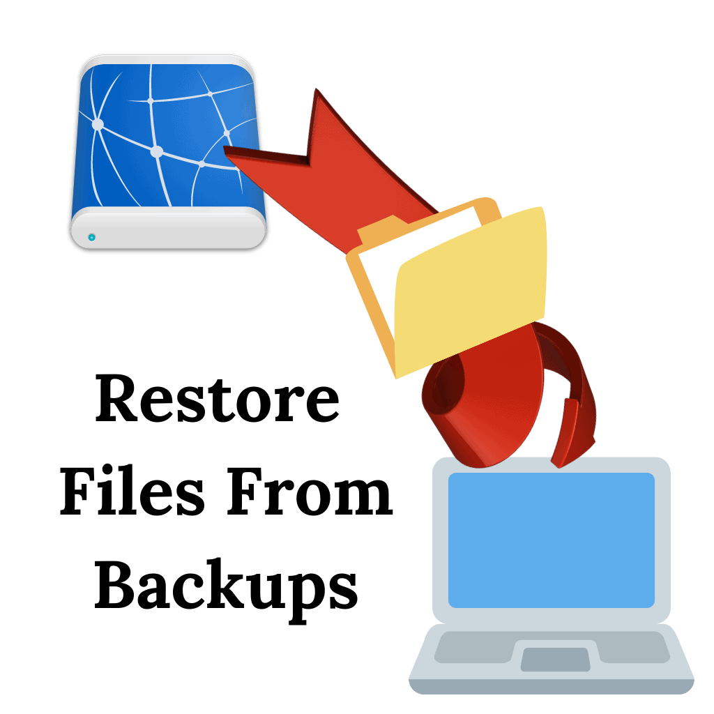 """Files being restored from USB drive to computer. Text """"Restore files from backups"""""""
