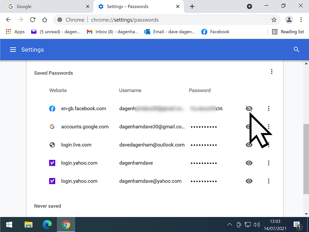 Reveal password icon (eye) is indicated in Chrome saved passwords.