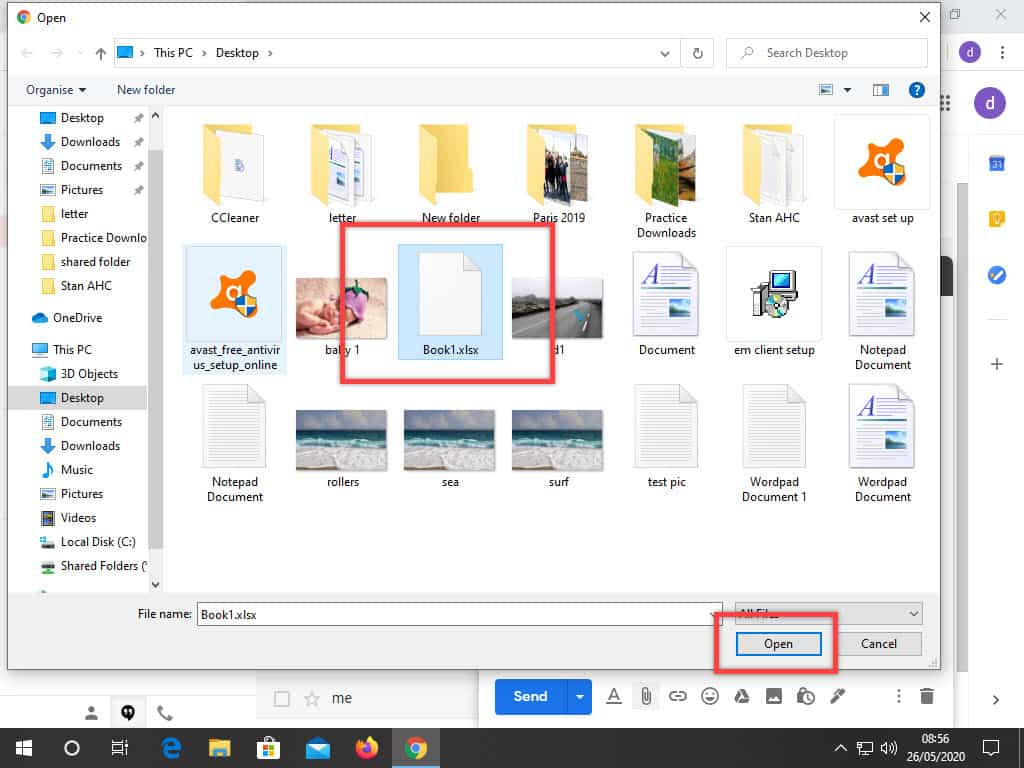 In File Explorer, selecting the file to be attached to Gmail email