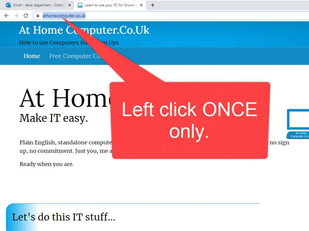Selecting URL from the browser address bar.