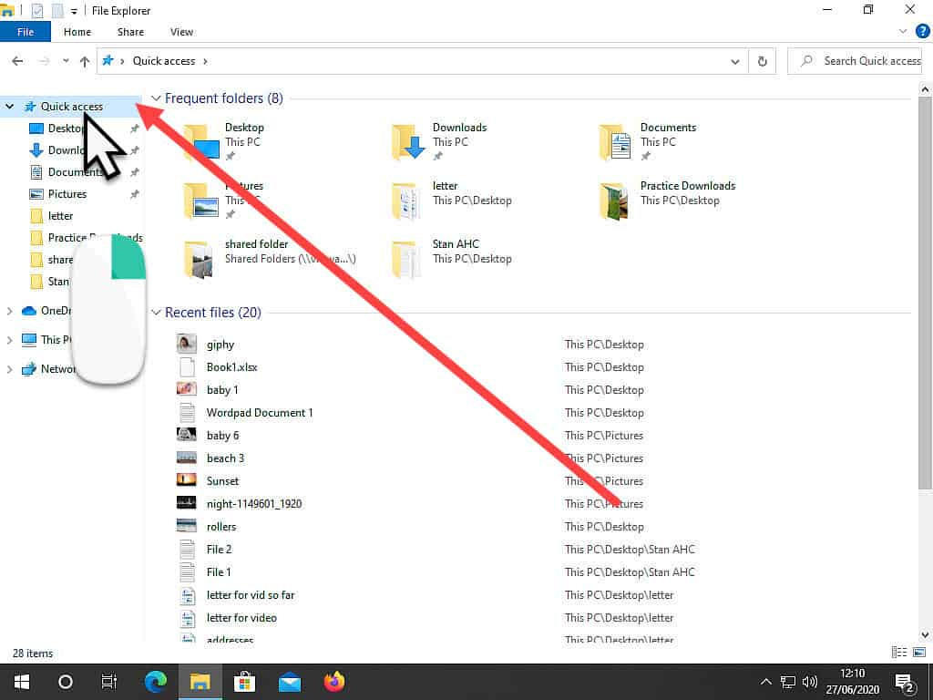 Quick Access indicated by arrow in navigation pane of File Explorer.