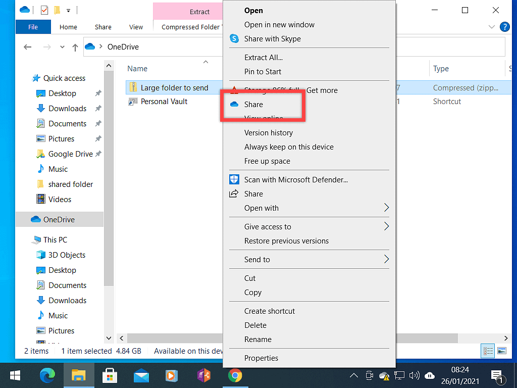 Share option in OneDrive account.