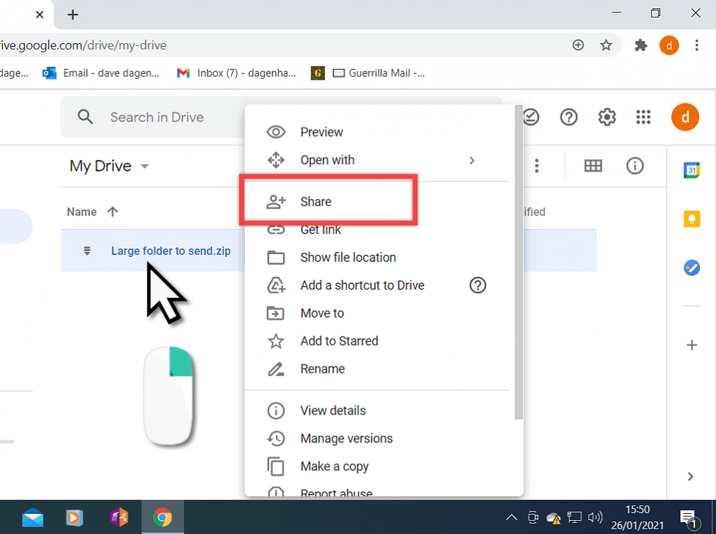 Share option in Google Drive.