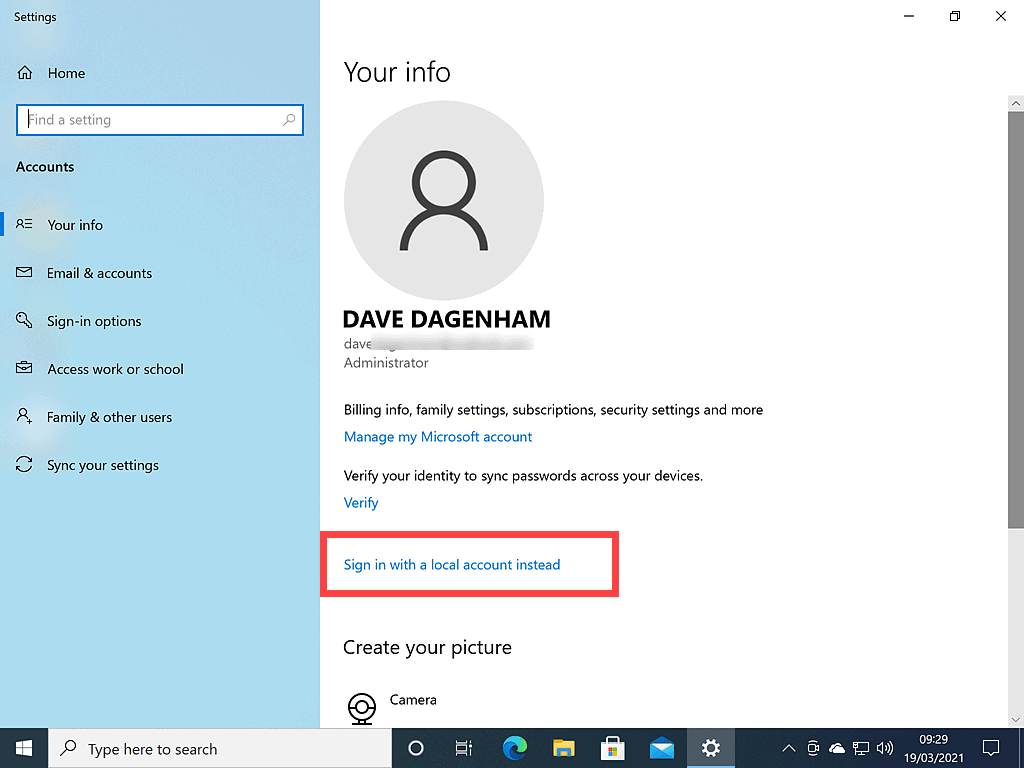 Sign in with a local account instead