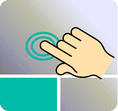 Animated finger tapping touchpad surface.