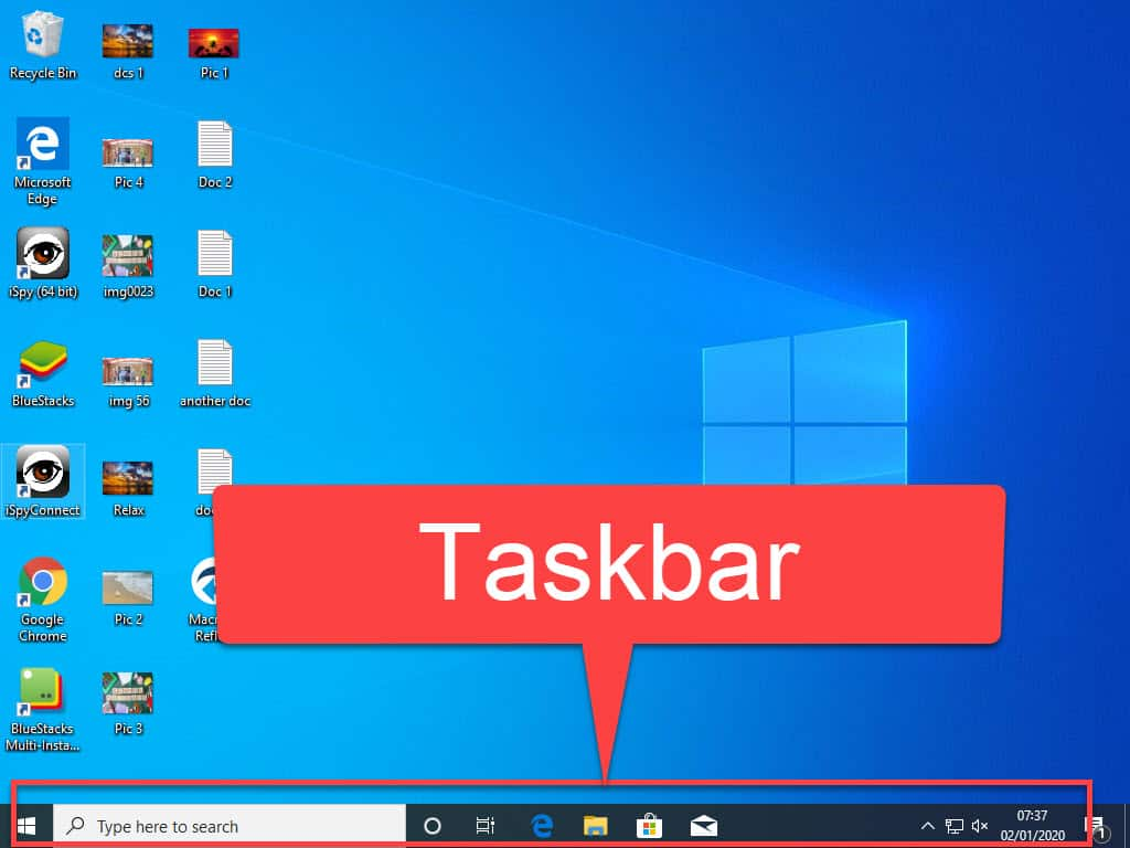Windows Taskbar is indicated by a red arrow.
