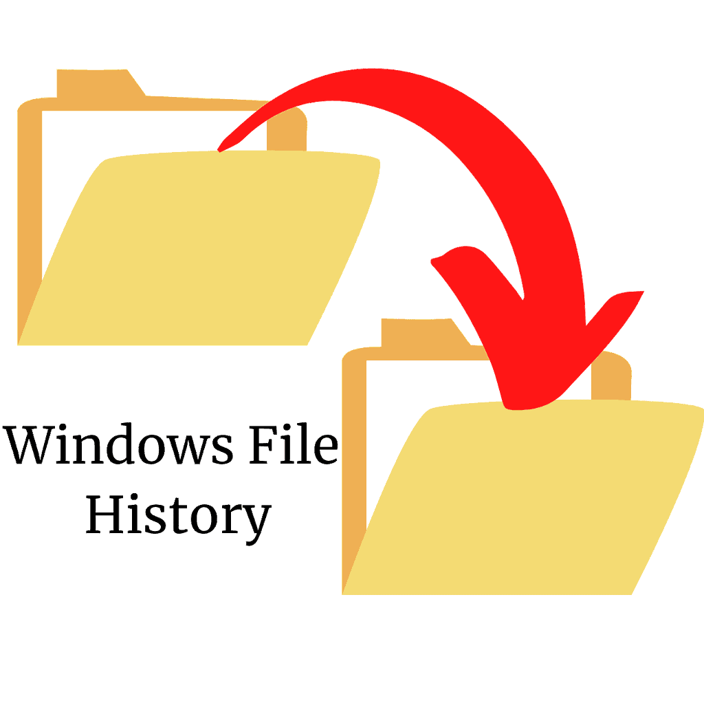 """Files being backed up from one folder to another. Text reads """"Windows File History""""."""