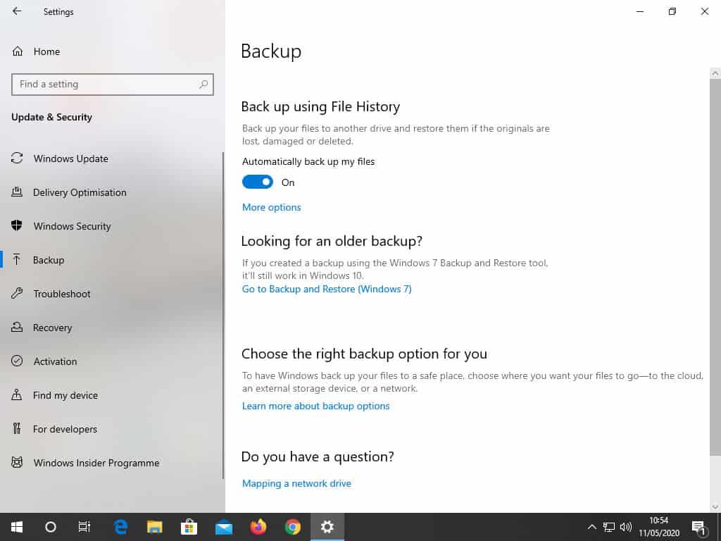 Windows File History setup page. It is turned on.