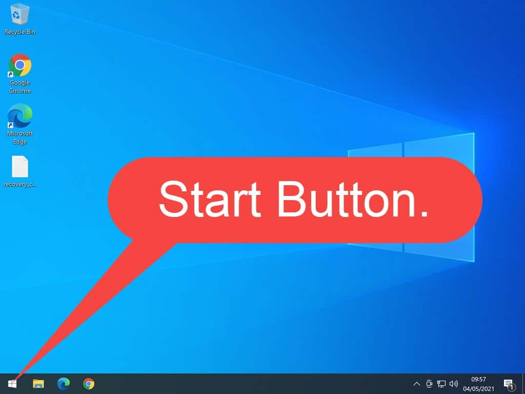 Start button indicated by large arrow on Windows Desktop.