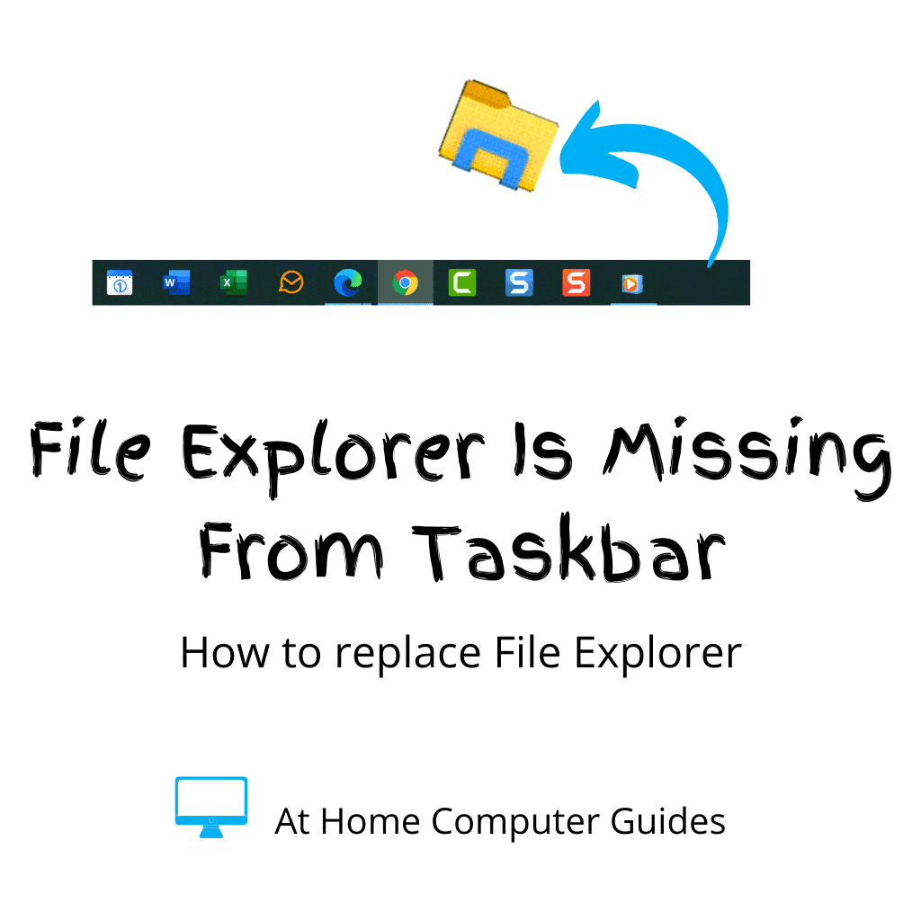"""Taskbar with File Explorer icon disappearing. Text reads """"File Explorer has gone missing"""""""