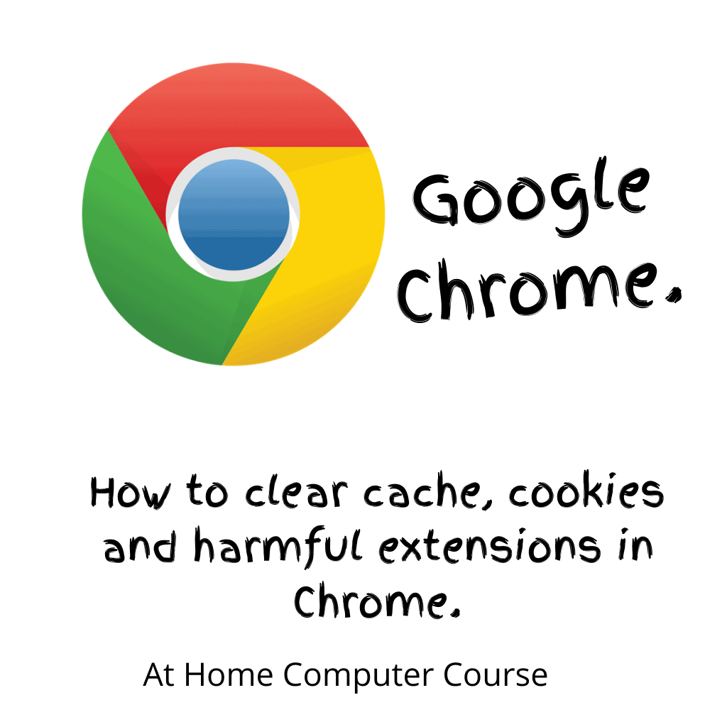 """Google Chrome icon (logo). Text reads """"How to clear cache, cookies & harmful extensions in Chrome""""."""