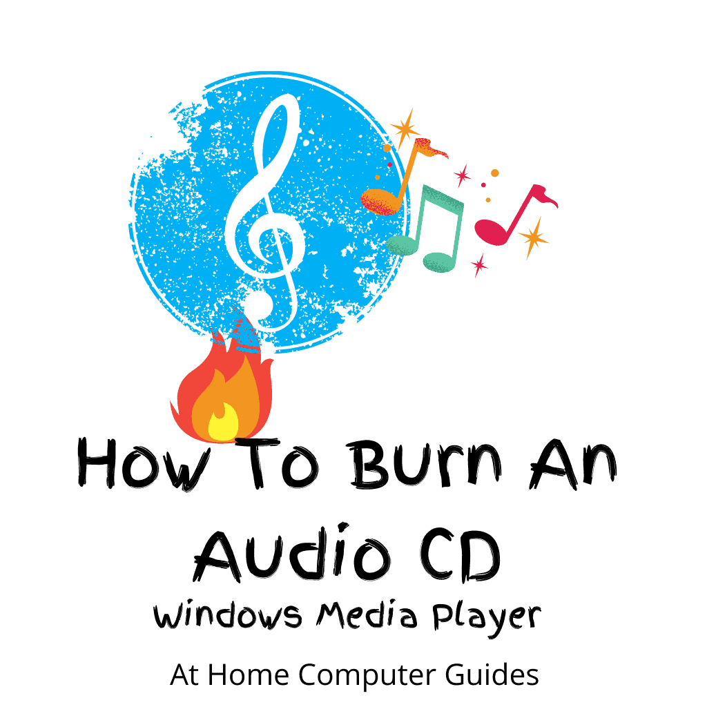 """Music CD with musical notes. Flame burning. Text """"How to burn an audio CD"""" g"""