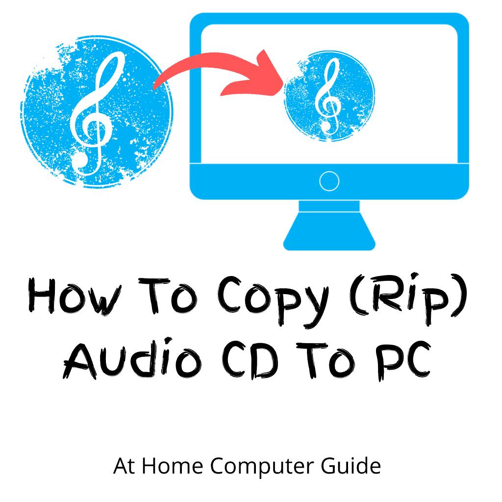 """Audio CD with arrow pointing toward a Computer. Text Reads """"How to copy (rip) Audio CD to PC"""""""