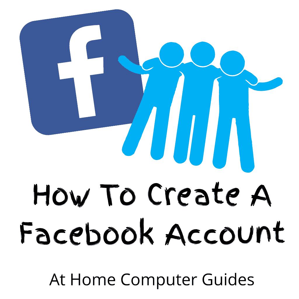 """Facebook logo. Text """"How to create a Facebook account"""""""