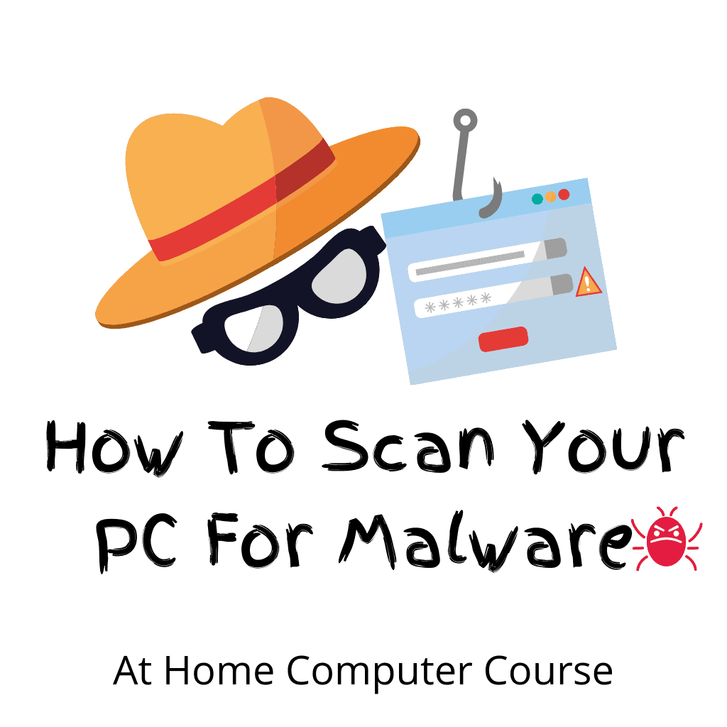 """A spy, a credit card hooked and a virus. Text reads """"How to scan your PC for malware""""."""
