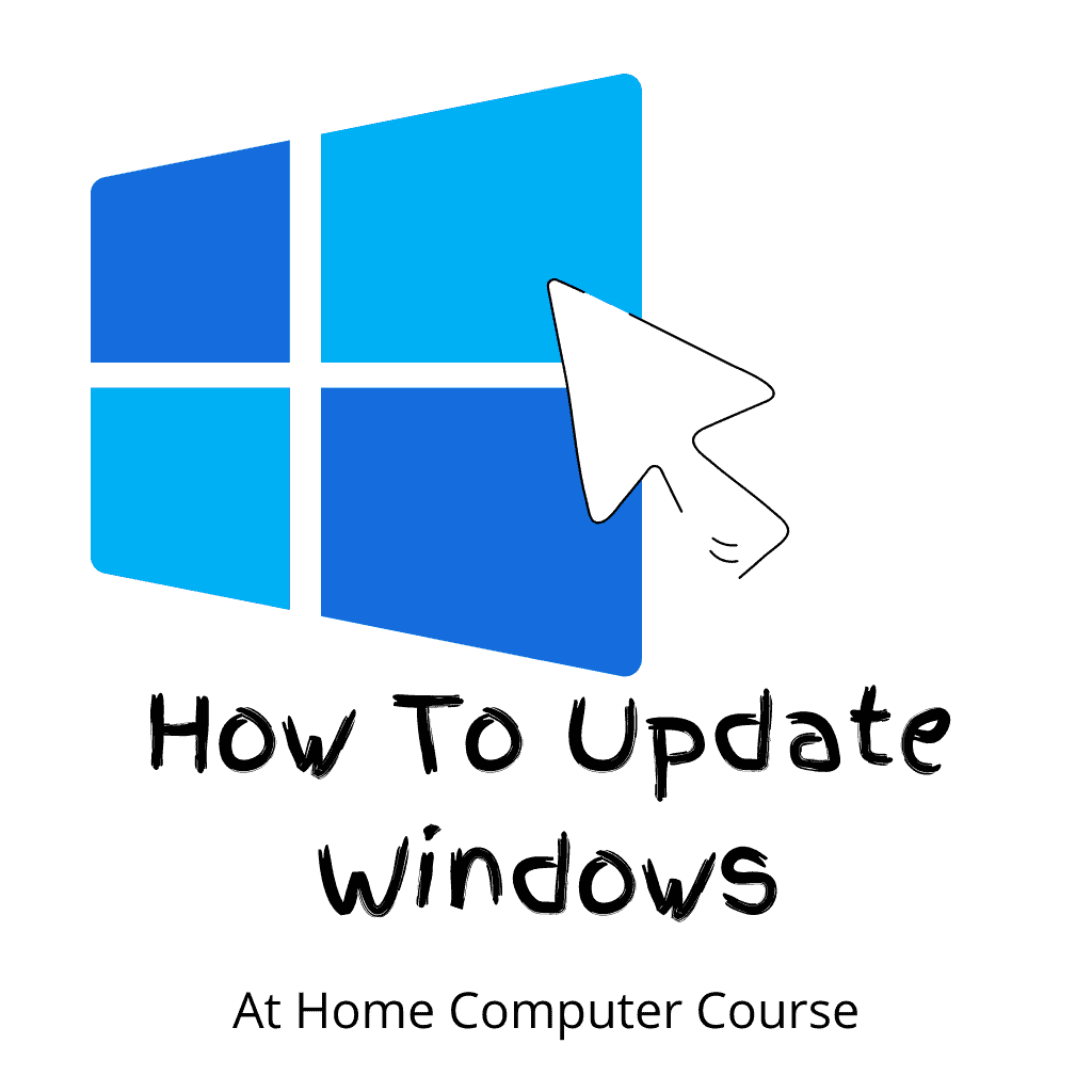 """Mouse cursor clicking on the Windows logo. Text reads """"How to update Windows"""""""