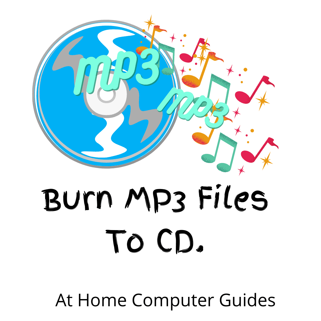 """Audio CD, MP3 files and musical notes. Text """" How to burn an MP3 Audio CD"""""""