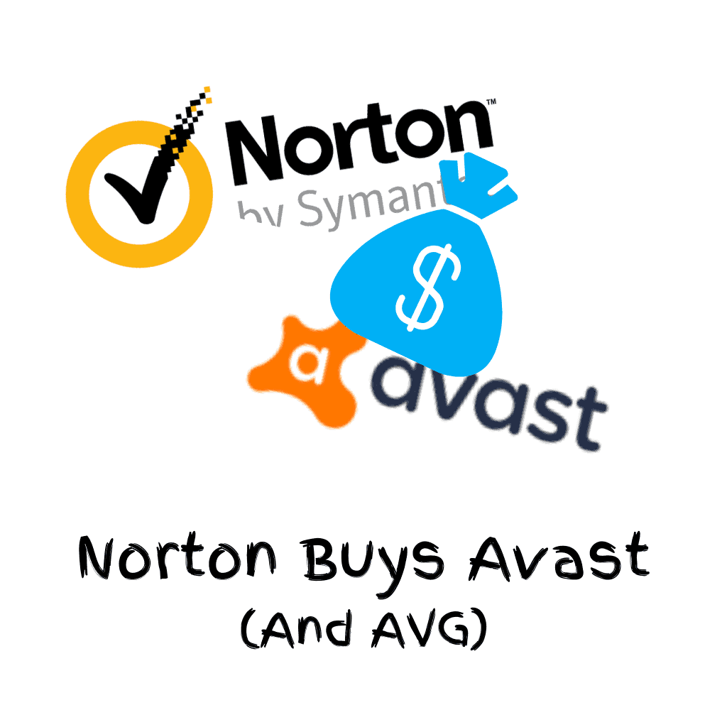 """Norton and Avast logo with a bag full of cash. Text reads """" Norton buys Avast and AVG"""""""