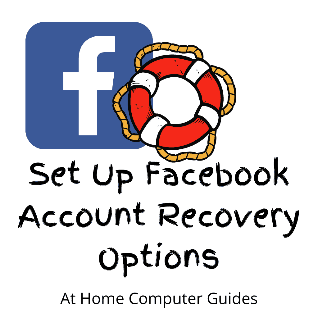 """Facebook logo and lifesaver ring. Text reads """"Set up Facebook account recovery options now"""""""