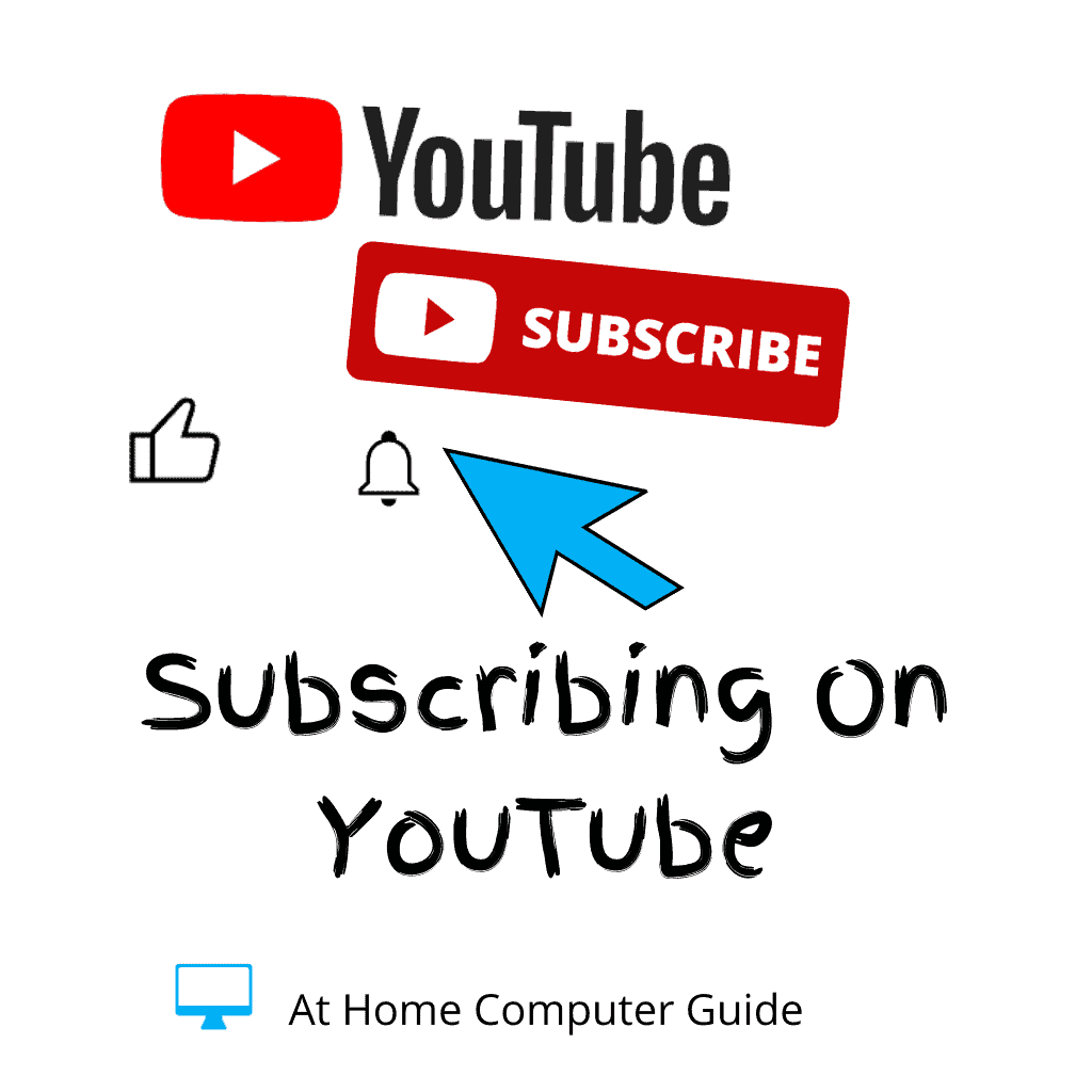 Youtube logo. Subscribe button and notification bell and thumbs up icon