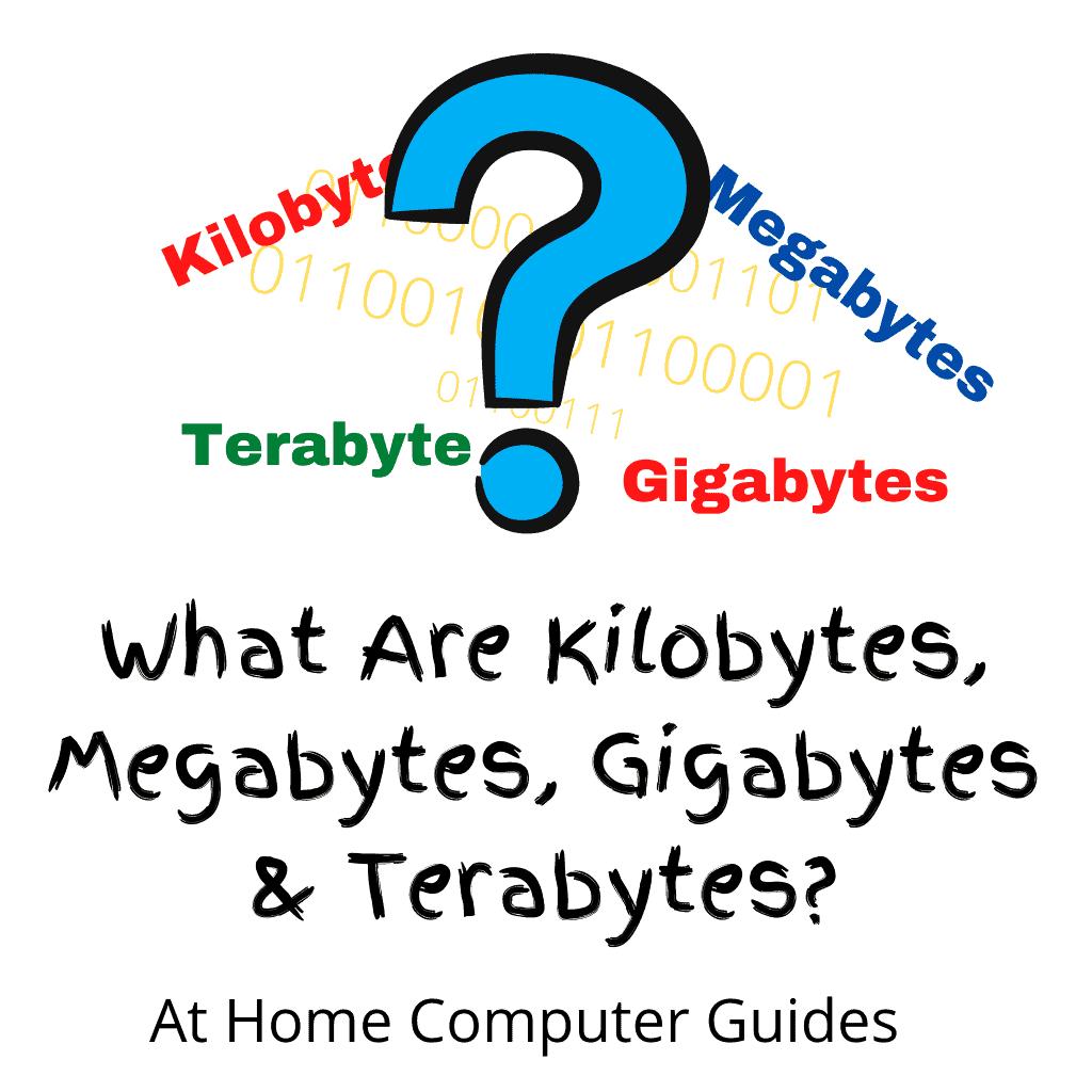 "Large colourful Question mark. Text reads ""Wgat are Kilobytes, Megabytes, Gigabytes & Terabytes""."
