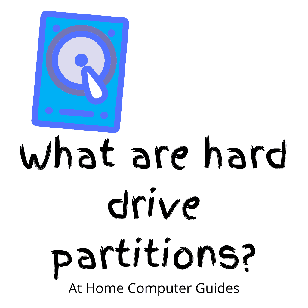 """Clipart hard drive image. Text """"What are hard drive partitions""""."""
