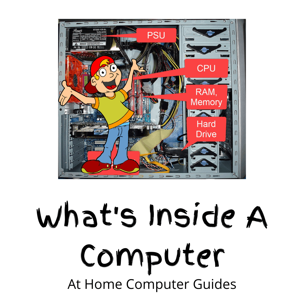 Desktop computer with side panel removed and various components labelled.