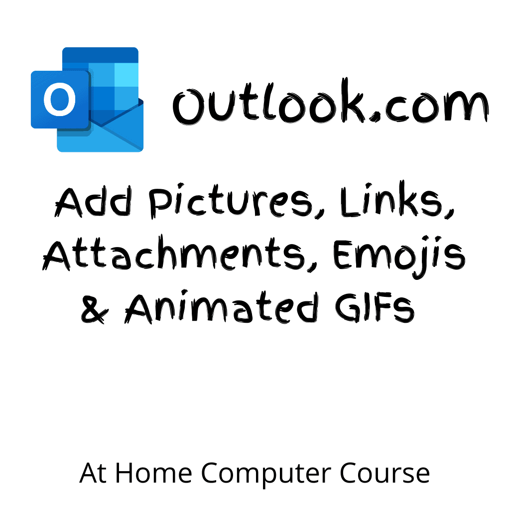 """Outlook.com logo.Text reads """"Add picitures, links, attachments, emojis and animated GIFs to outlook.com emails"""""""